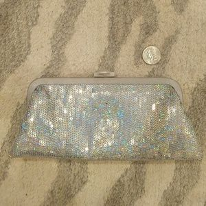 Silver Holographic Sequin Evening Clutch